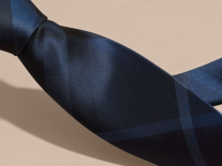 Navy Classic Cut Check Silk Tie Navy - cell image 1