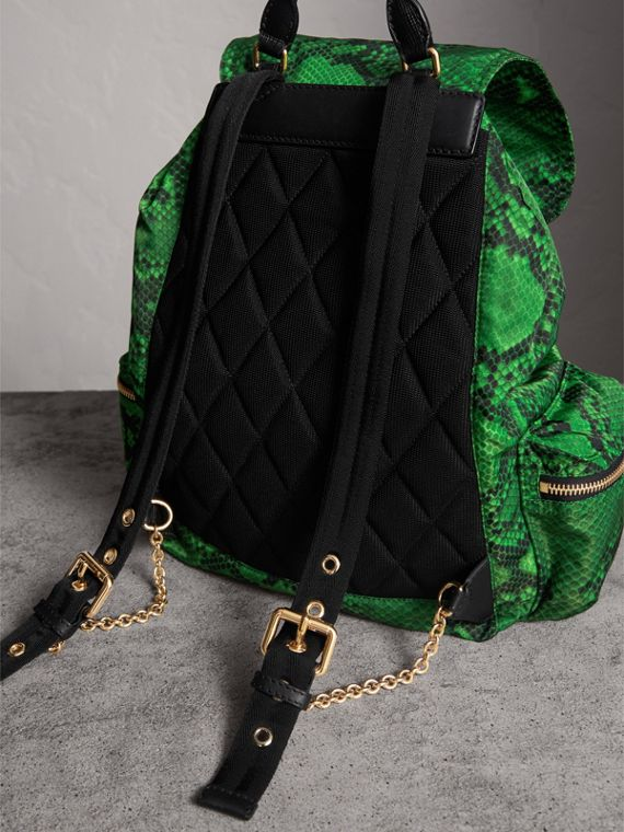 The Large Rucksack in Python Print Nylon and Leather in Green - Women | Burberry - cell image 3