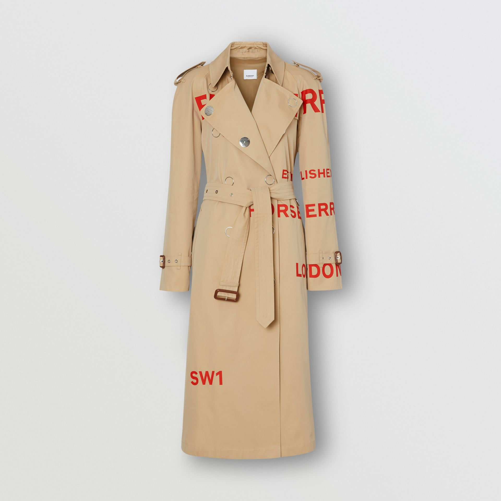 Trench coat in gabardine di cotone con stampa Horseferry (Miele) - Donna | Burberry - immagine della galleria 3