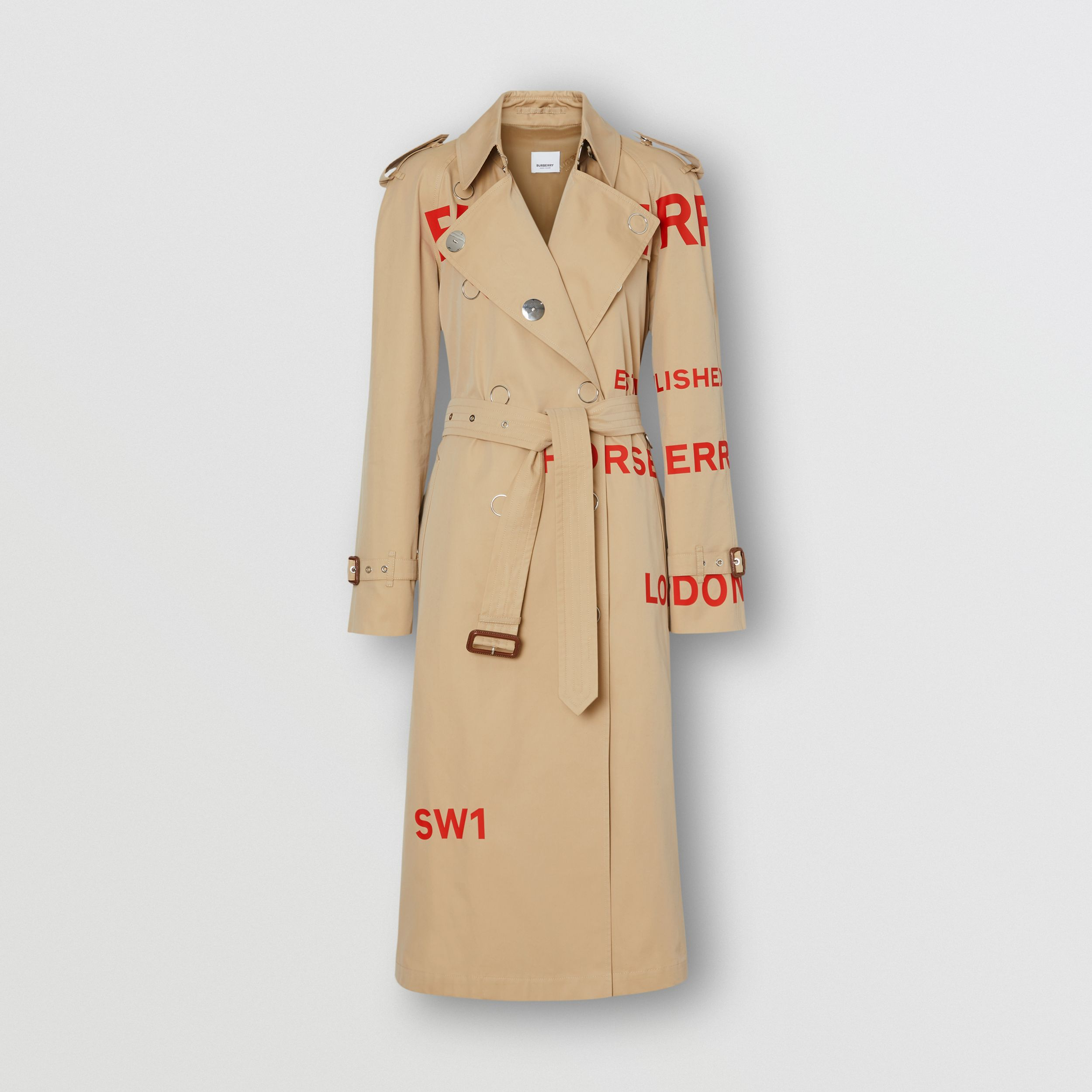 Horseferry Print Cotton Gabardine Trench Coat in Honey - Women | Burberry - 4