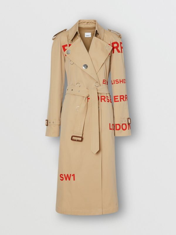 Trench coat in gabardine di cotone con stampa Horseferry (Miele) - Donna | Burberry - cell image 3