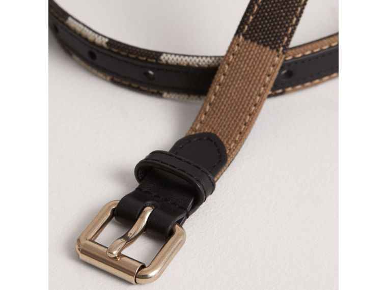 Canvas Check and Leather Belt in Black | Burberry - cell image 1