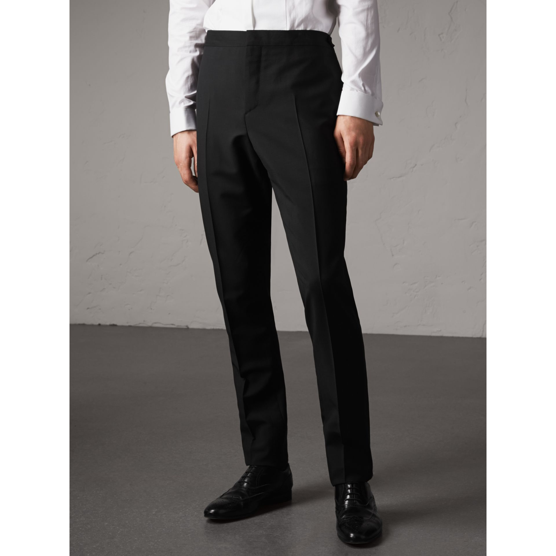 Slim Fit Wool Mohair Evening Trousers in Black - Men | Burberry Singapore - gallery image 4