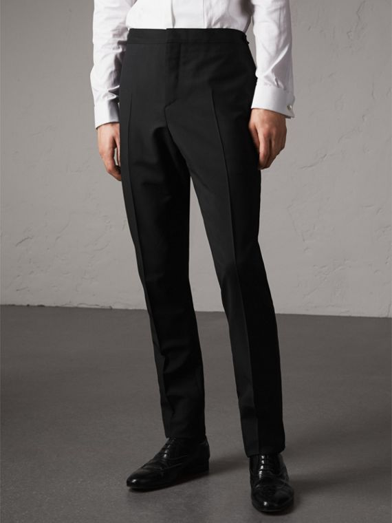 Slim Fit Wool Mohair Evening Trousers - Men | Burberry Australia