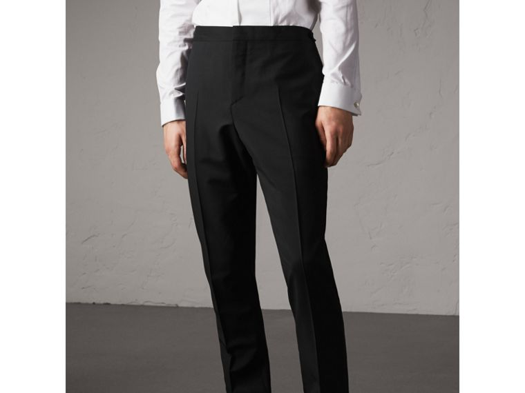Slim Fit Wool Mohair Evening Trousers in Black - Men | Burberry Singapore - cell image 4