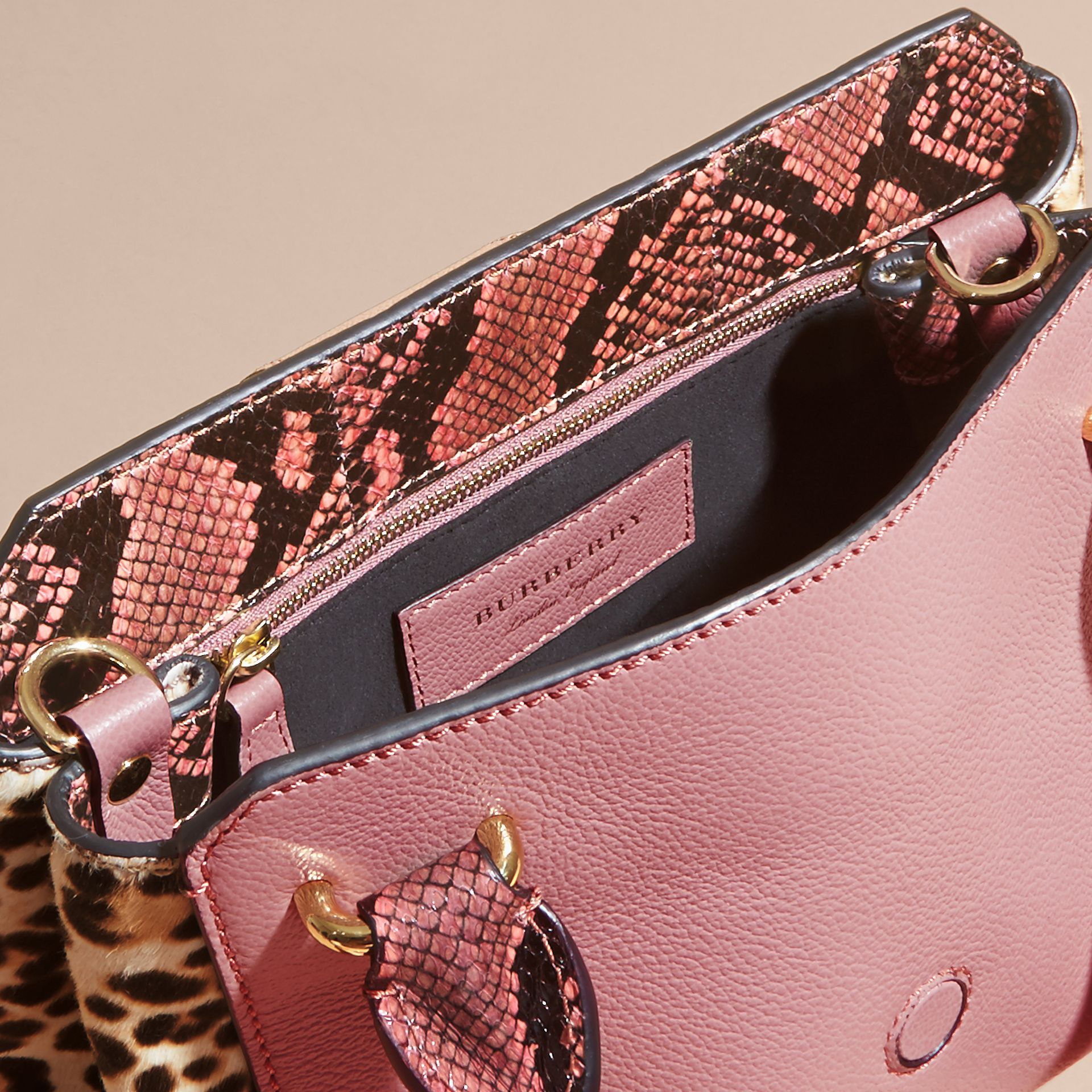 Dusty pink The Small Buckle Tote in Leather and  Leopard-print Calfskin Dusty Pink - gallery image 6