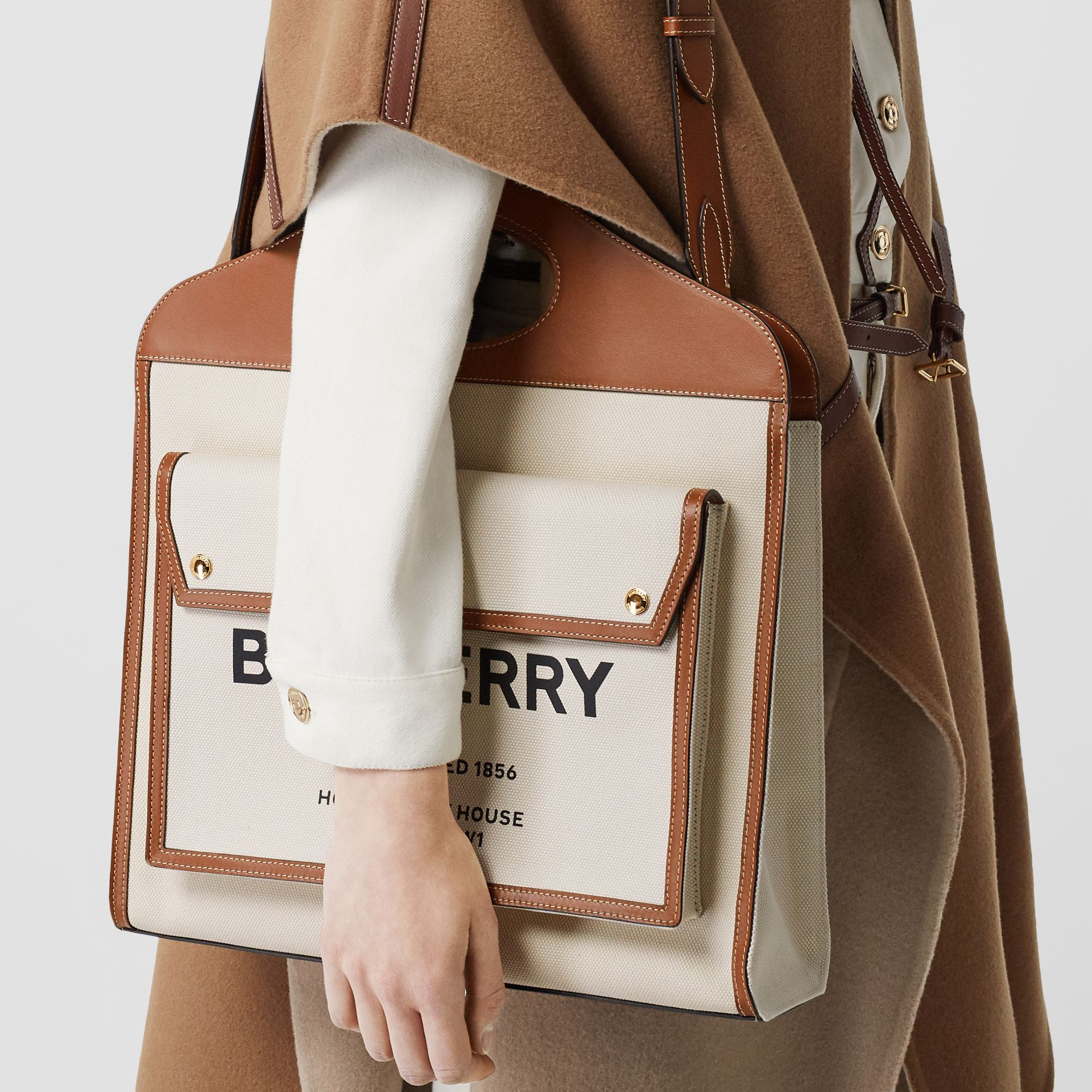 Medium Two-tone Canvas and Leather Pocket Bag in Natural/malt Brown - Women | Burberry - gallery image 2
