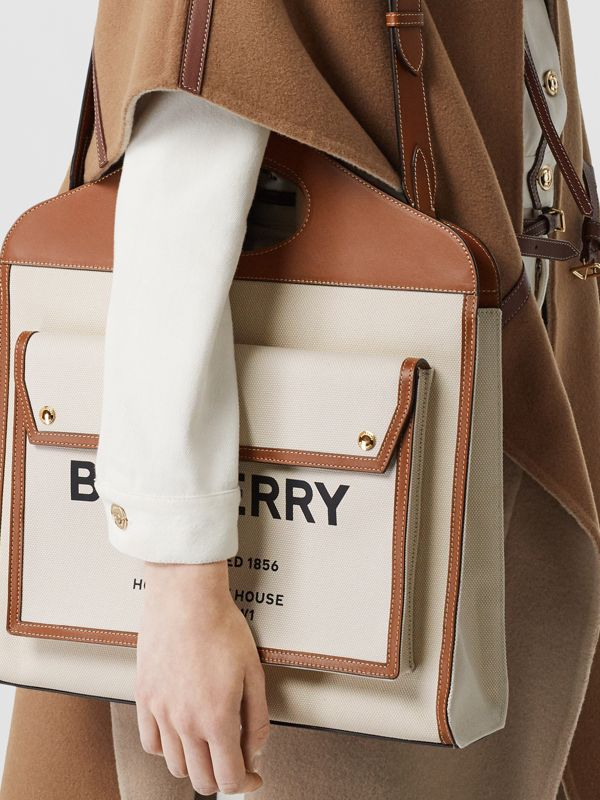 Medium Two-tone Canvas and Leather Pocket Bag in Natural/malt Brown - Women | Burberry - cell image 2