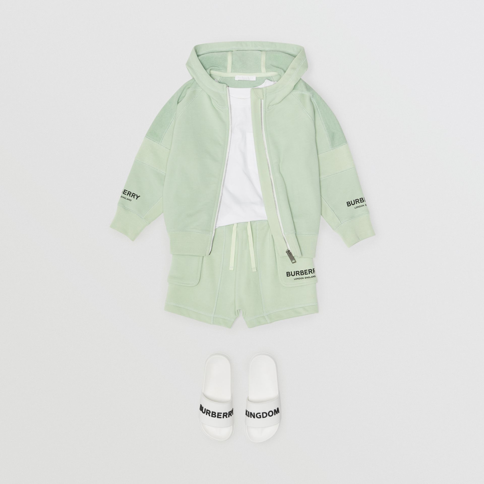 Logo Print Cotton Drawcord Shorts in Pale Mint | Burberry Hong Kong - gallery image 2