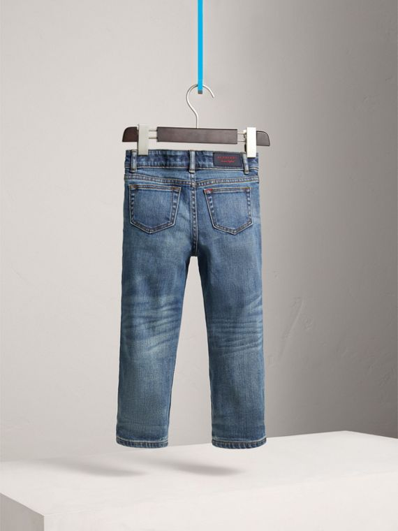 Relaxed Fit Stretch Denim Jeans in Mid Indigo - Boy | Burberry United Kingdom - cell image 3