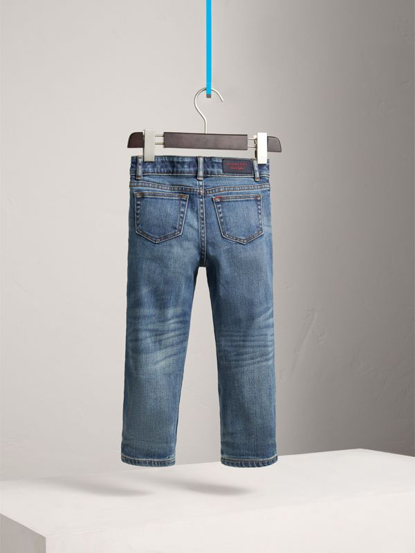 Relaxed Fit Stretch Denim Jeans in Mid Indigo - Boy | Burberry United States - cell image 3