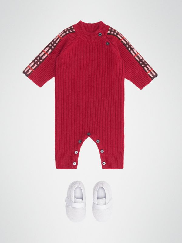 Check Detail Cashmere Jumpsuit in Burgundy Red - Children | Burberry United States - cell image 2