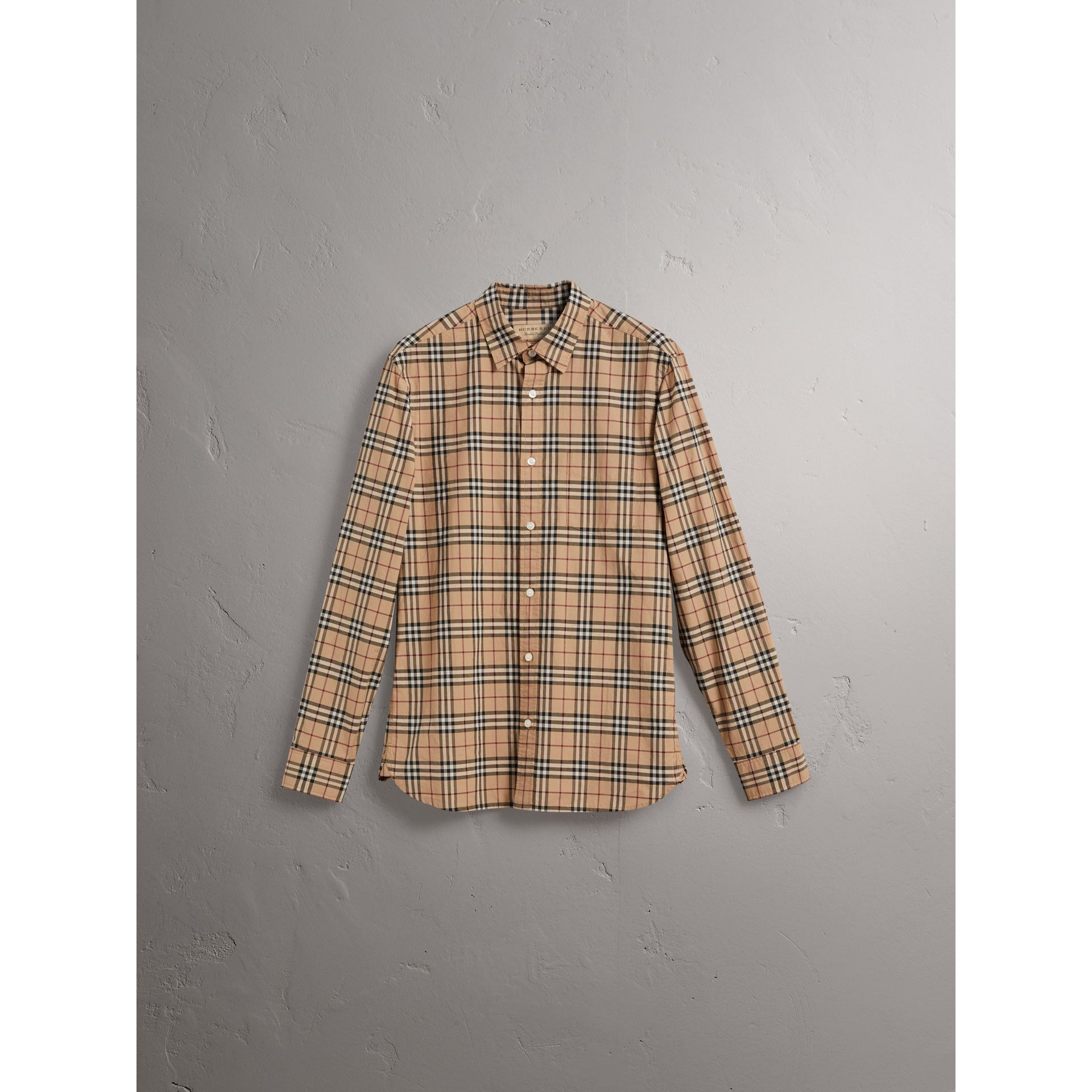 Check Cotton Shirt in Camel - Men | Burberry United Kingdom - gallery image 3