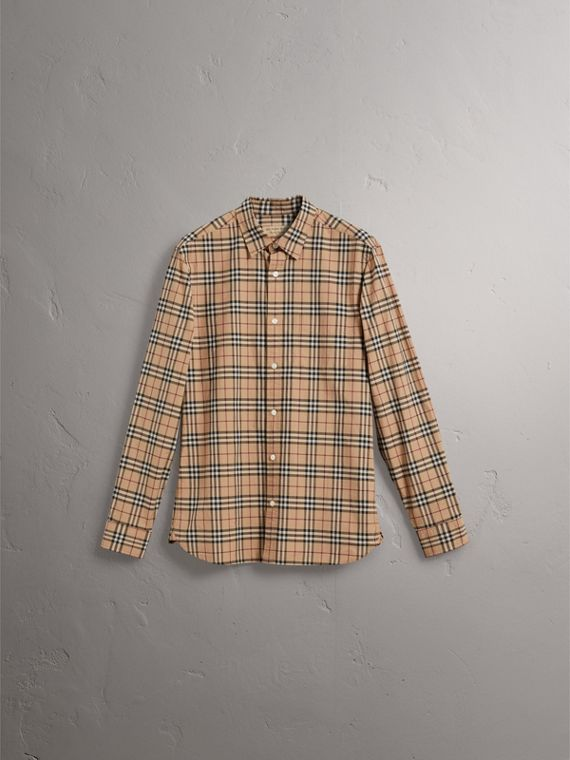 Check Cotton Shirt in Camel - Men | Burberry Canada - cell image 3