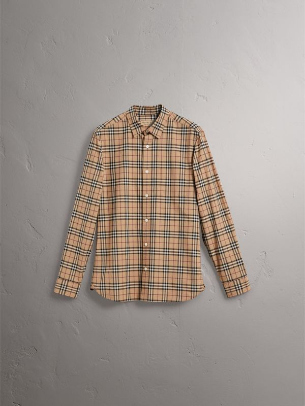 Check Cotton Shirt in Camel - Men | Burberry - cell image 3