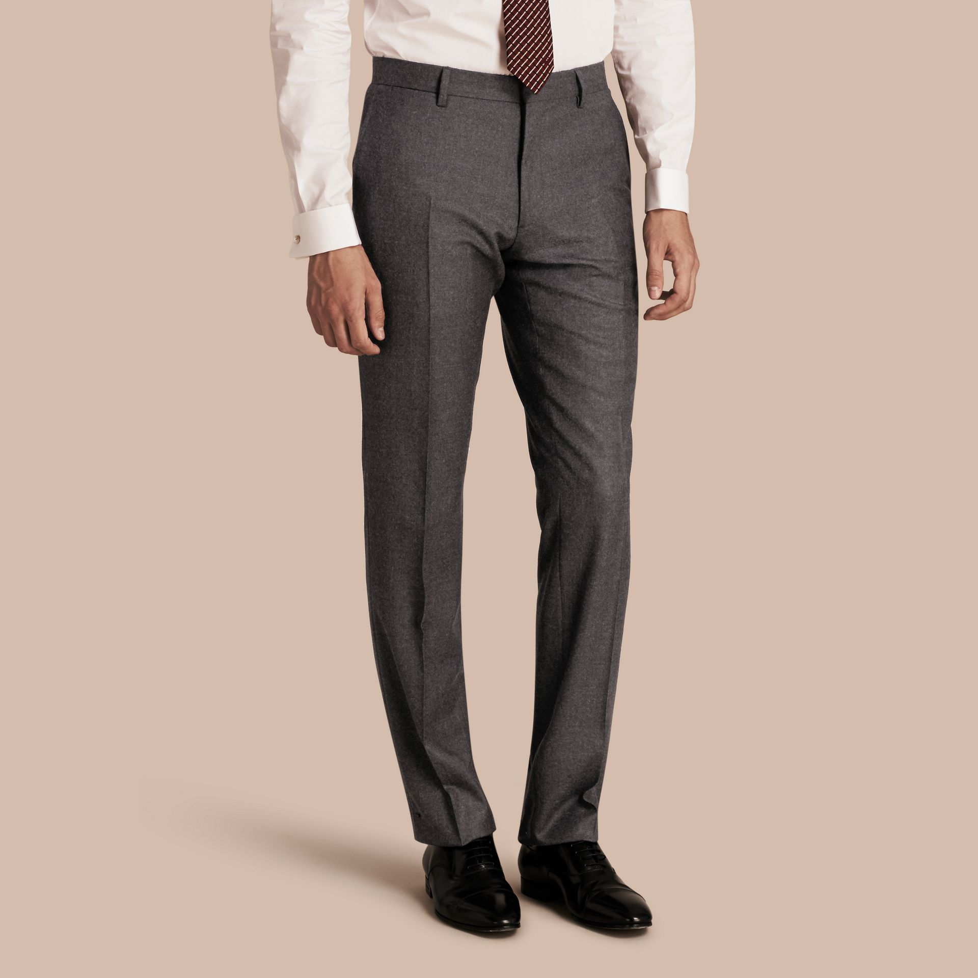Dark grey melange Modern Fit Travel Tailoring Brushed Wool Trousers - gallery image 1
