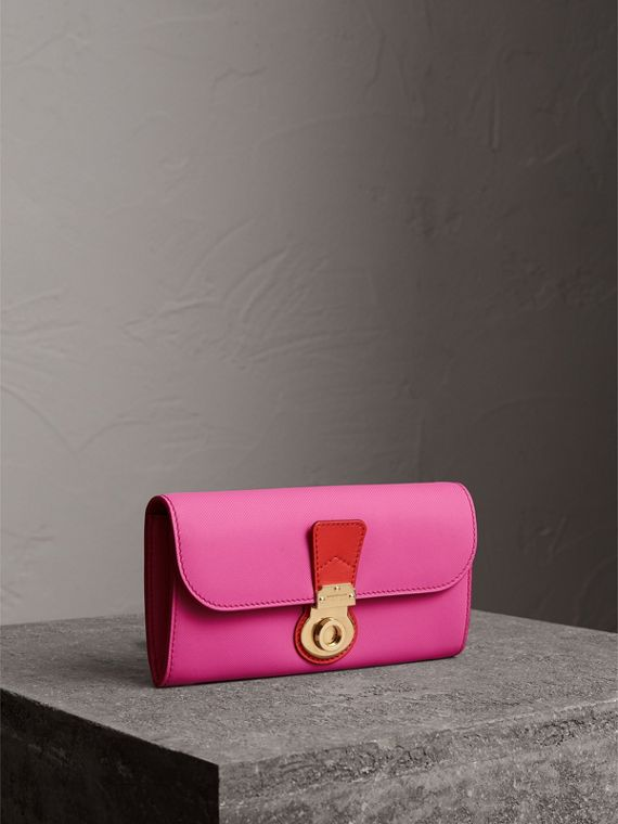 Two-tone Trench Leather Continental Wallet in Rose Pink/orange Red