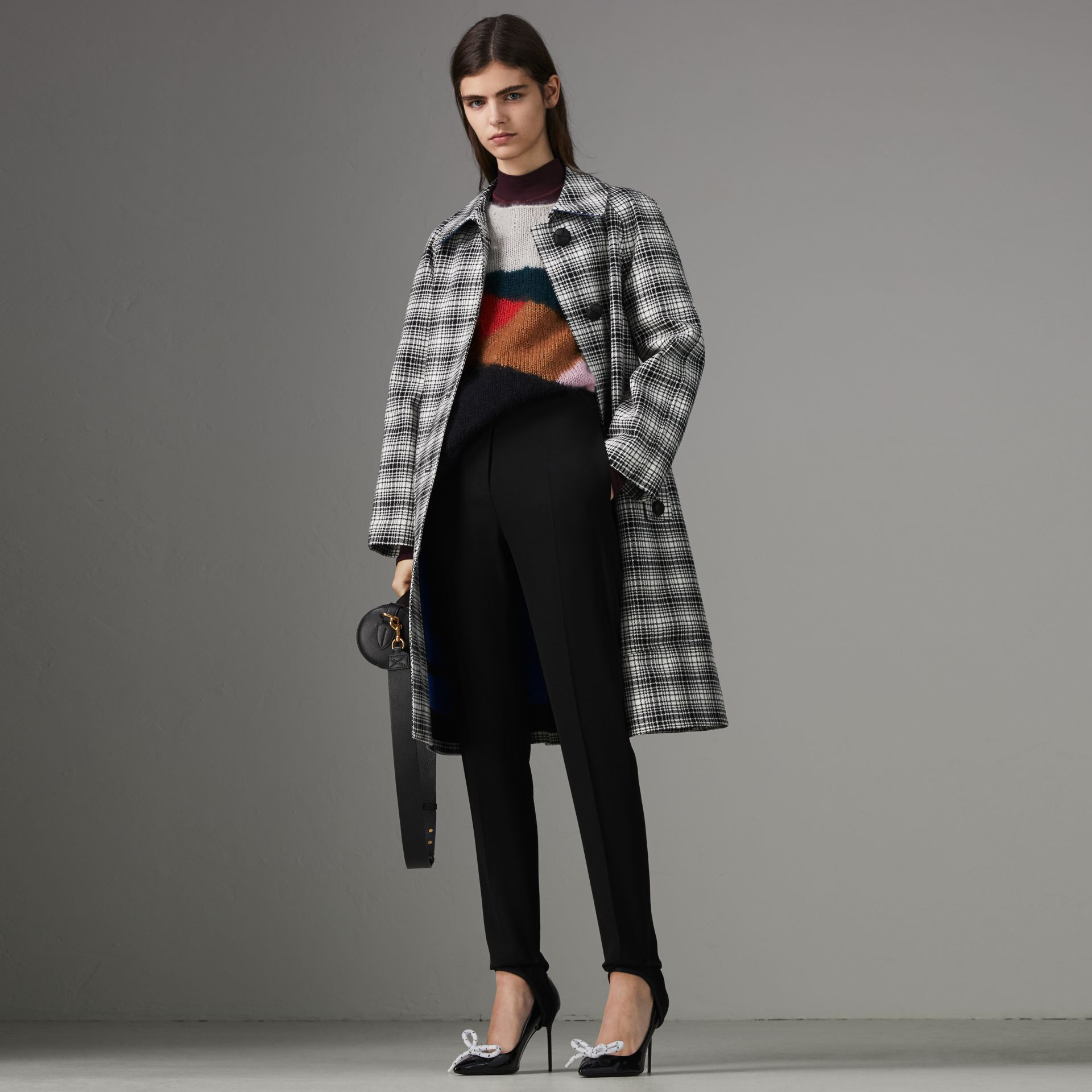 Check Wool Tailored Coat in Black/white - Women | Burberry Australia - gallery image 0