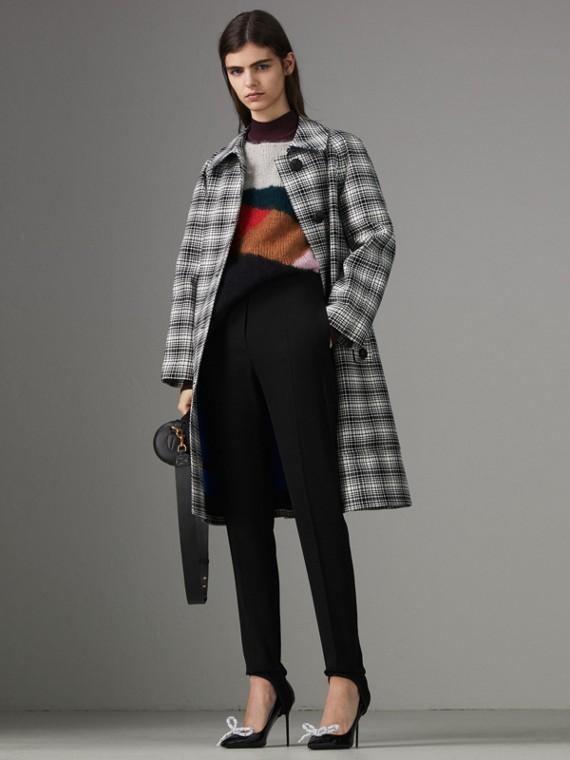 Пальто из шерсти в клетку (Черный /белый)
