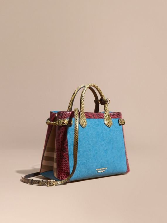 Sac The Banner medium en cuir, python et coton House check Bleu Paon
