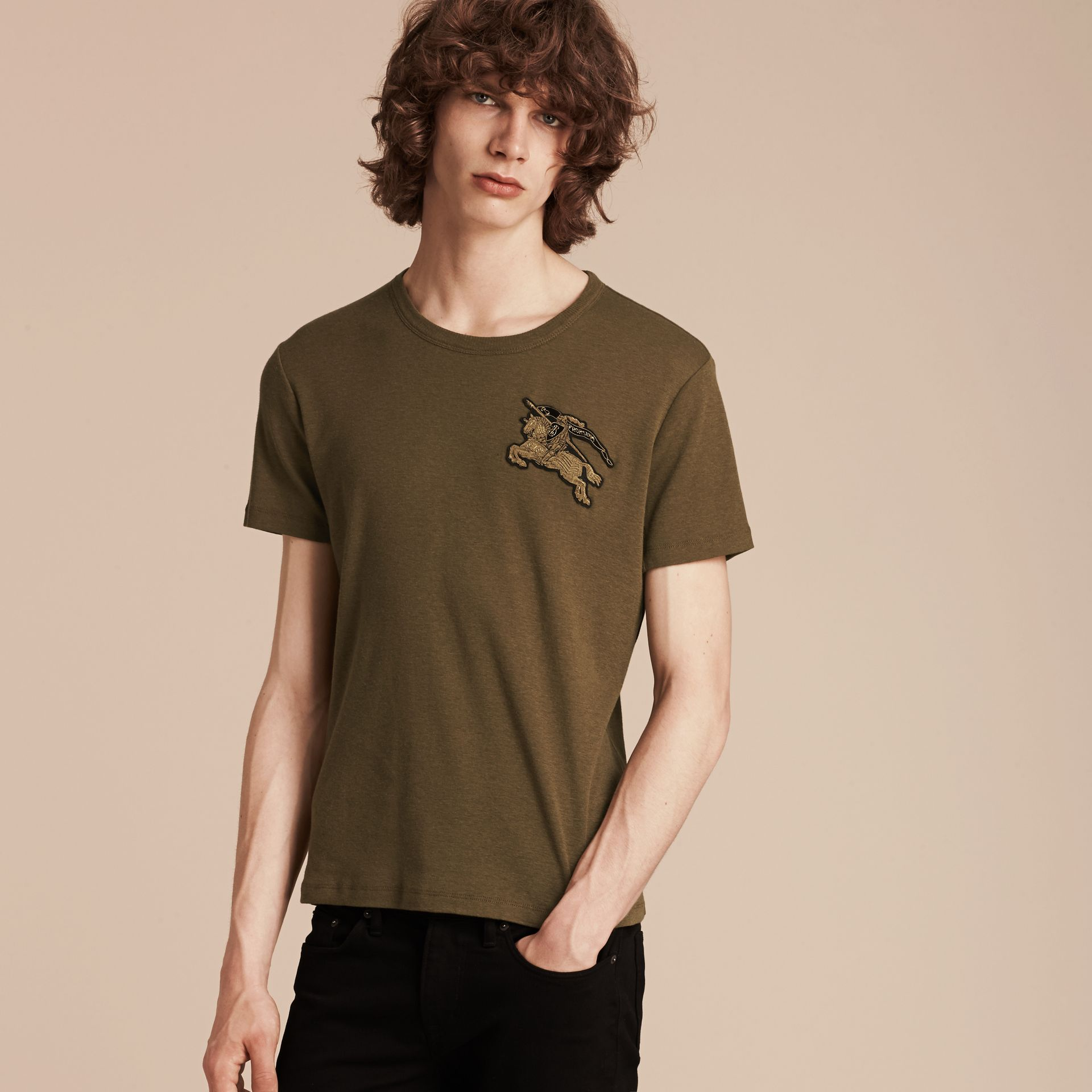Military green Cotton Wool Blend T-shirt Military Green - gallery image 3