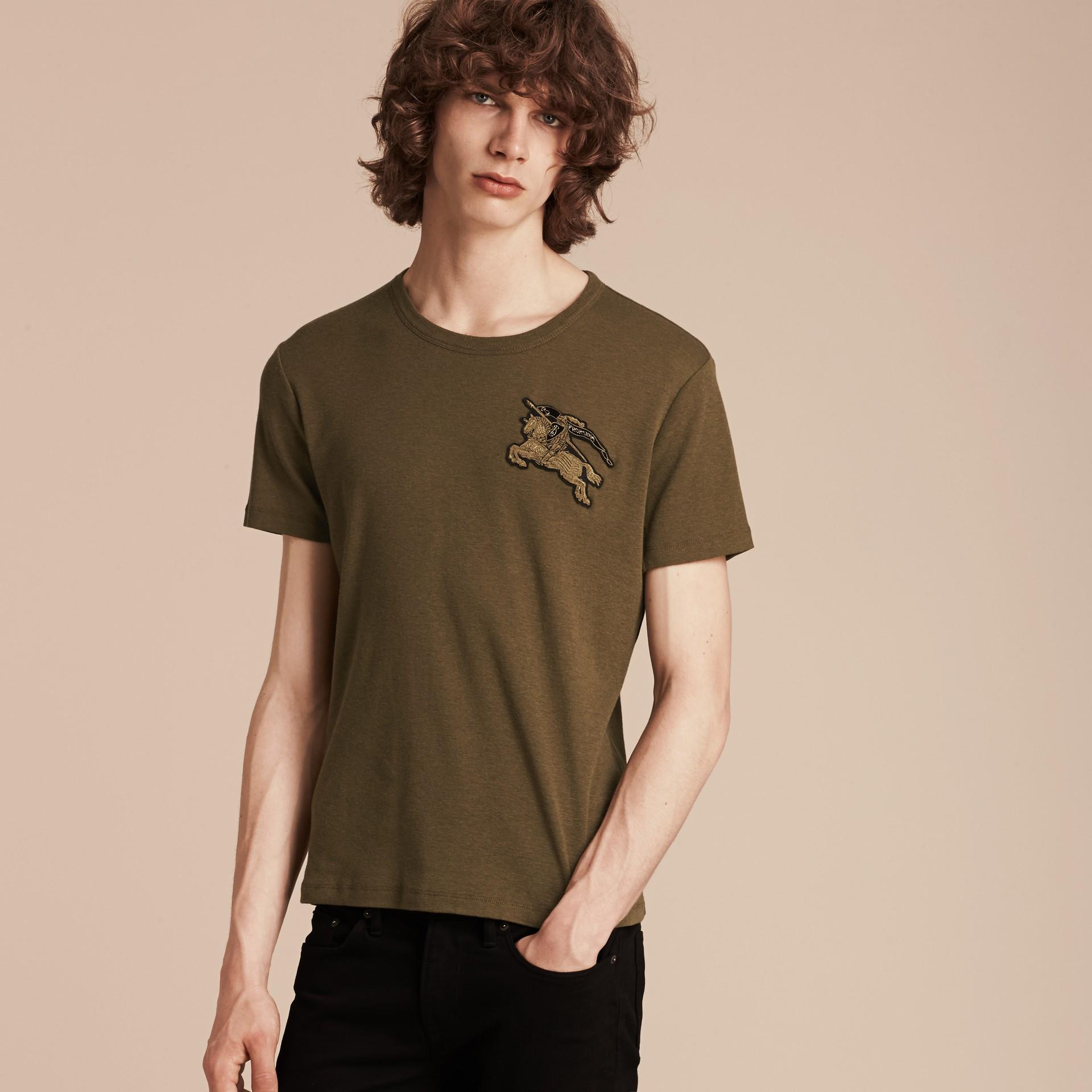 Vert militaire T-shirt en coton et laine mélangés Vert Militaire - photo de la galerie 3