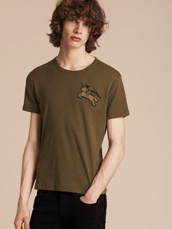 Military green Cotton Wool Blend T-shirt Military Green - cell image 2
