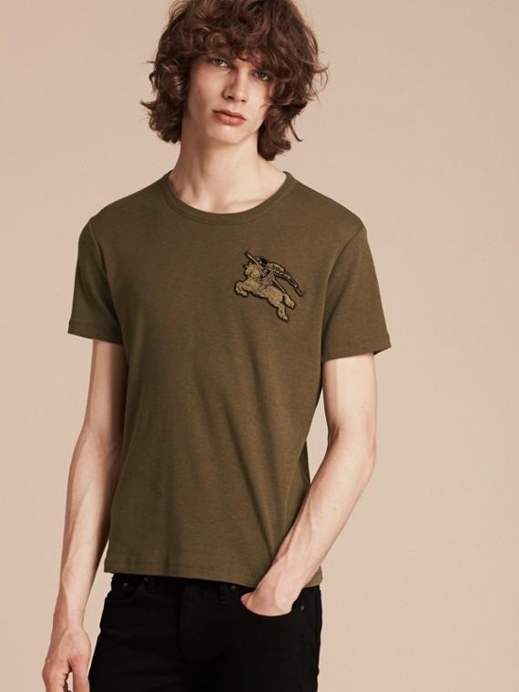 Vert militaire T-shirt en coton et laine mélangés Vert Militaire - cell image 2