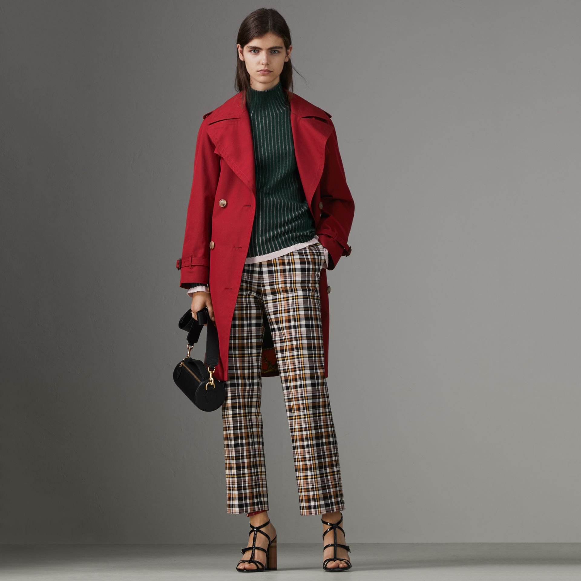 Oversized Lapel Cotton Gabardine Trench Coat in Parade Red - Women | Burberry - gallery image 0