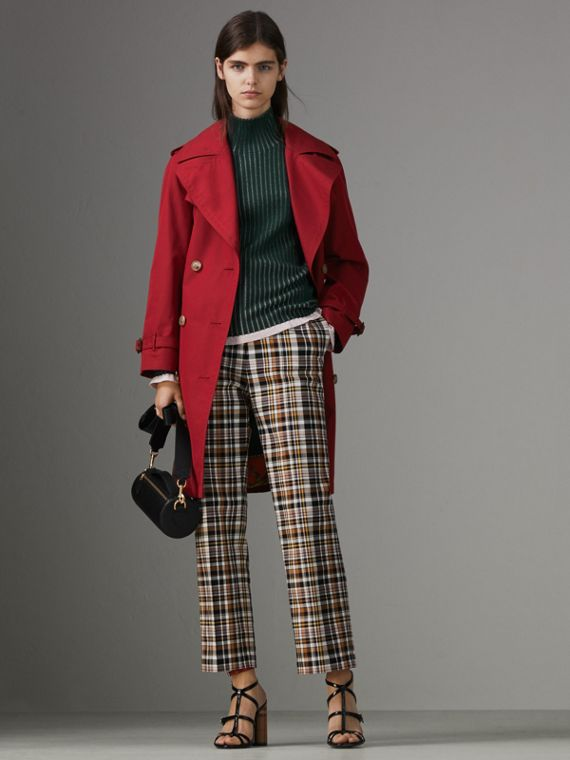 Scarf-print-lined Tropical Gabardine Trench Coat in Parade Red
