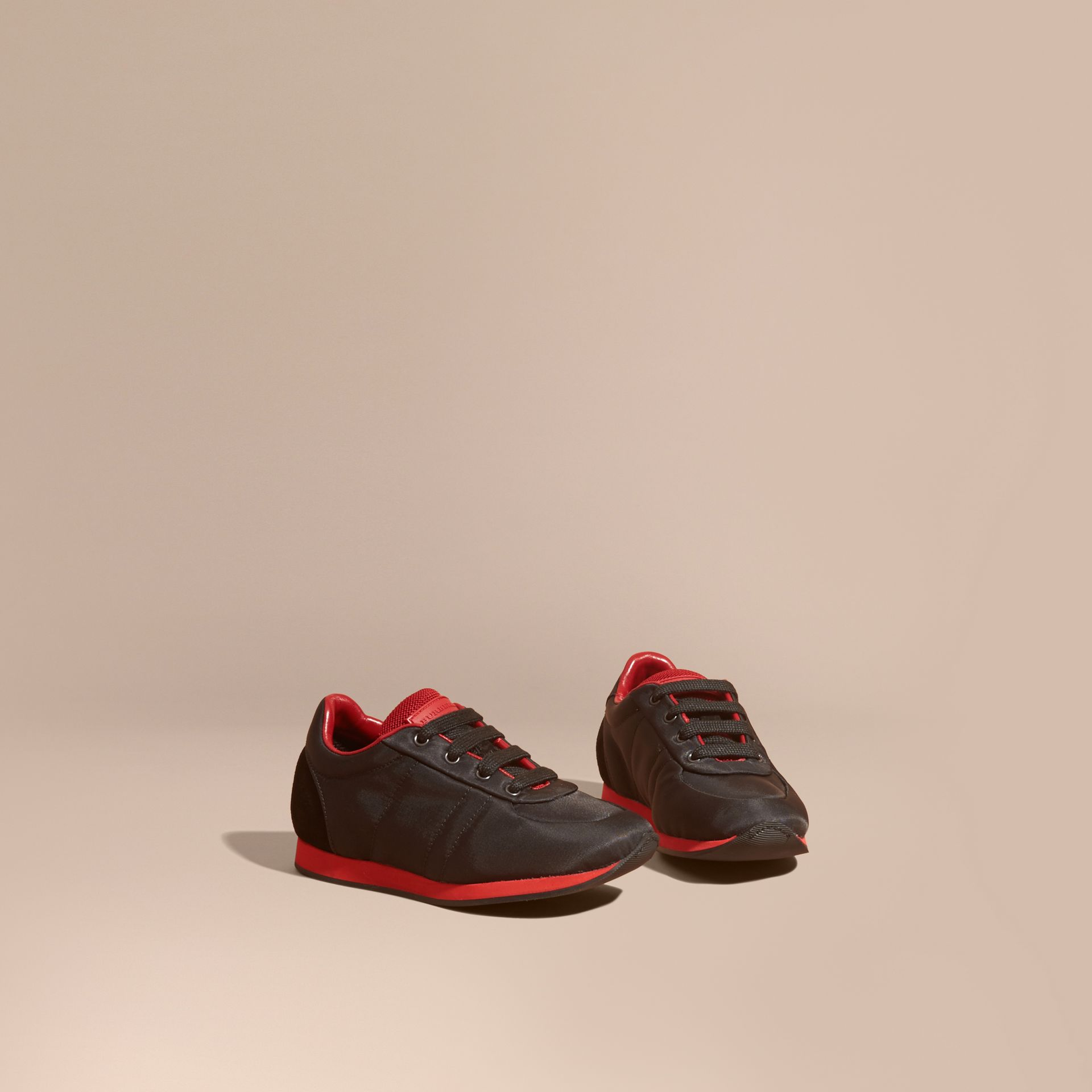 Black/military red Colour Block Satin and Leather Sneakers Black/military Red - gallery image 1