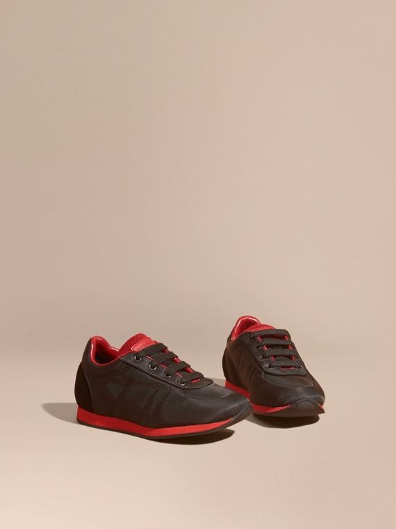 Colour Block Satin and Leather Sneakers Black/military Red