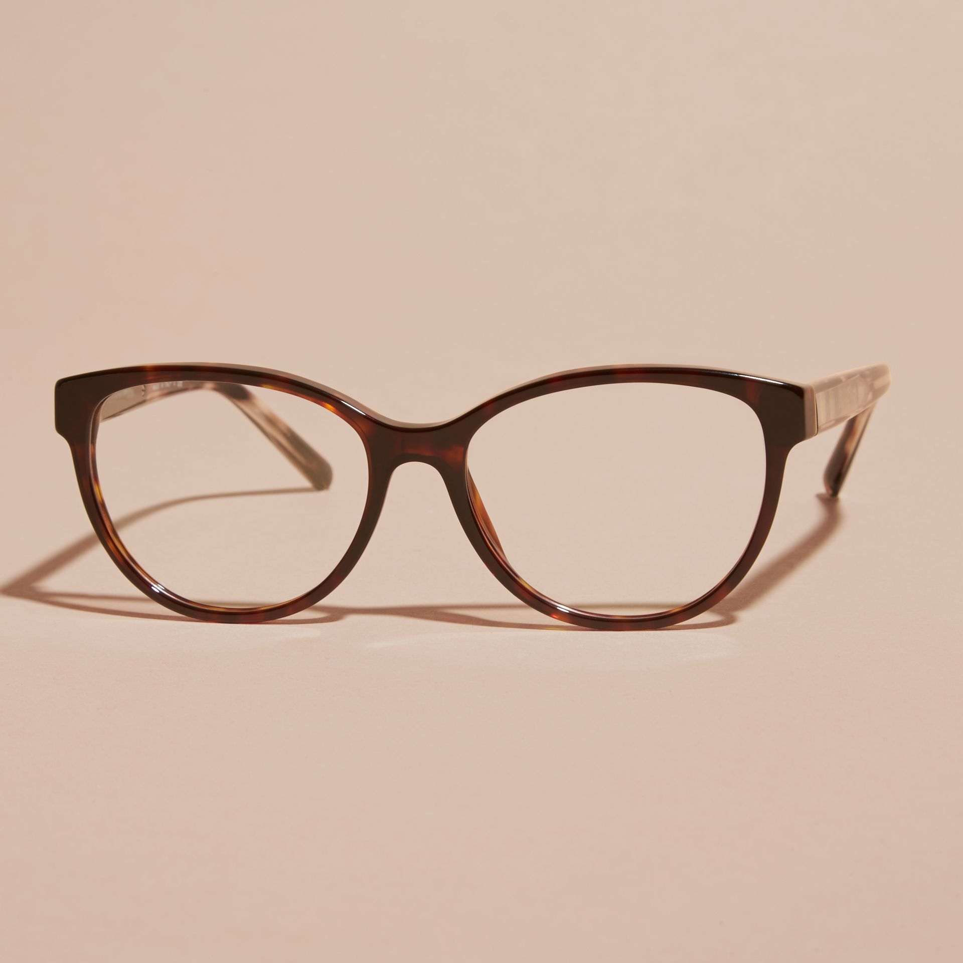 Light russet brown Check Detail Round Optical Frames Light Russet Brown - gallery image 3