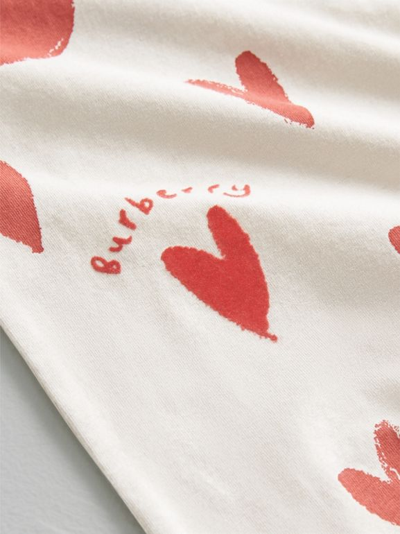 Spot and Heart Print Cotton Two-piece Baby Gift Set in Bright Red - Children | Burberry - cell image 1