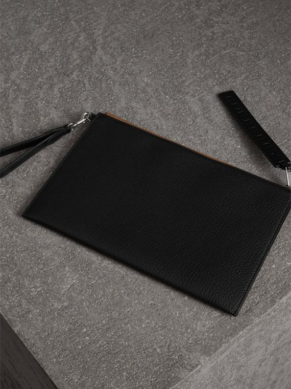Grainy Leather Zip Pouch in Black | Burberry - cell image 2