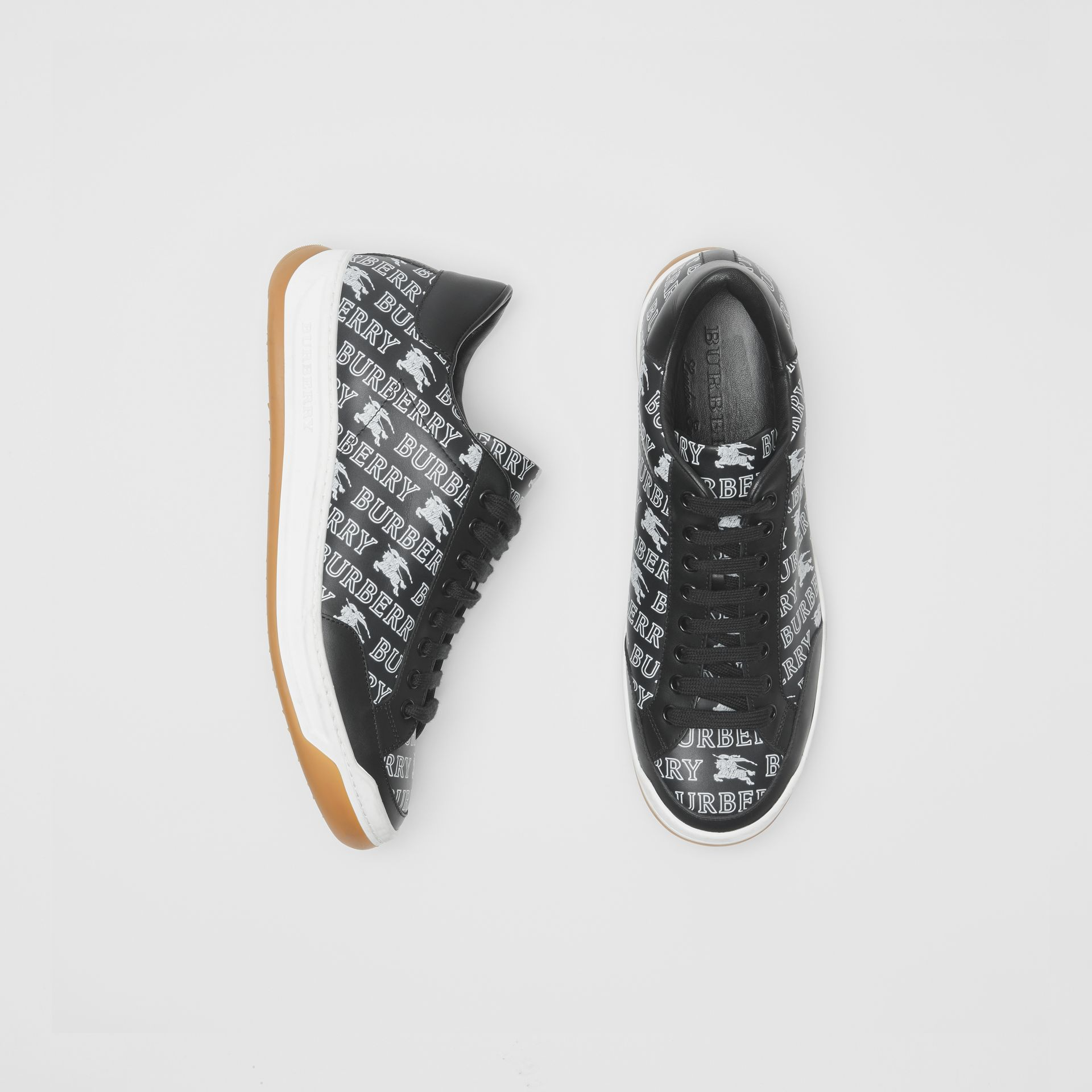 EKD Logo Print Leather Sneakers in Black - Men | Burberry - gallery image 0