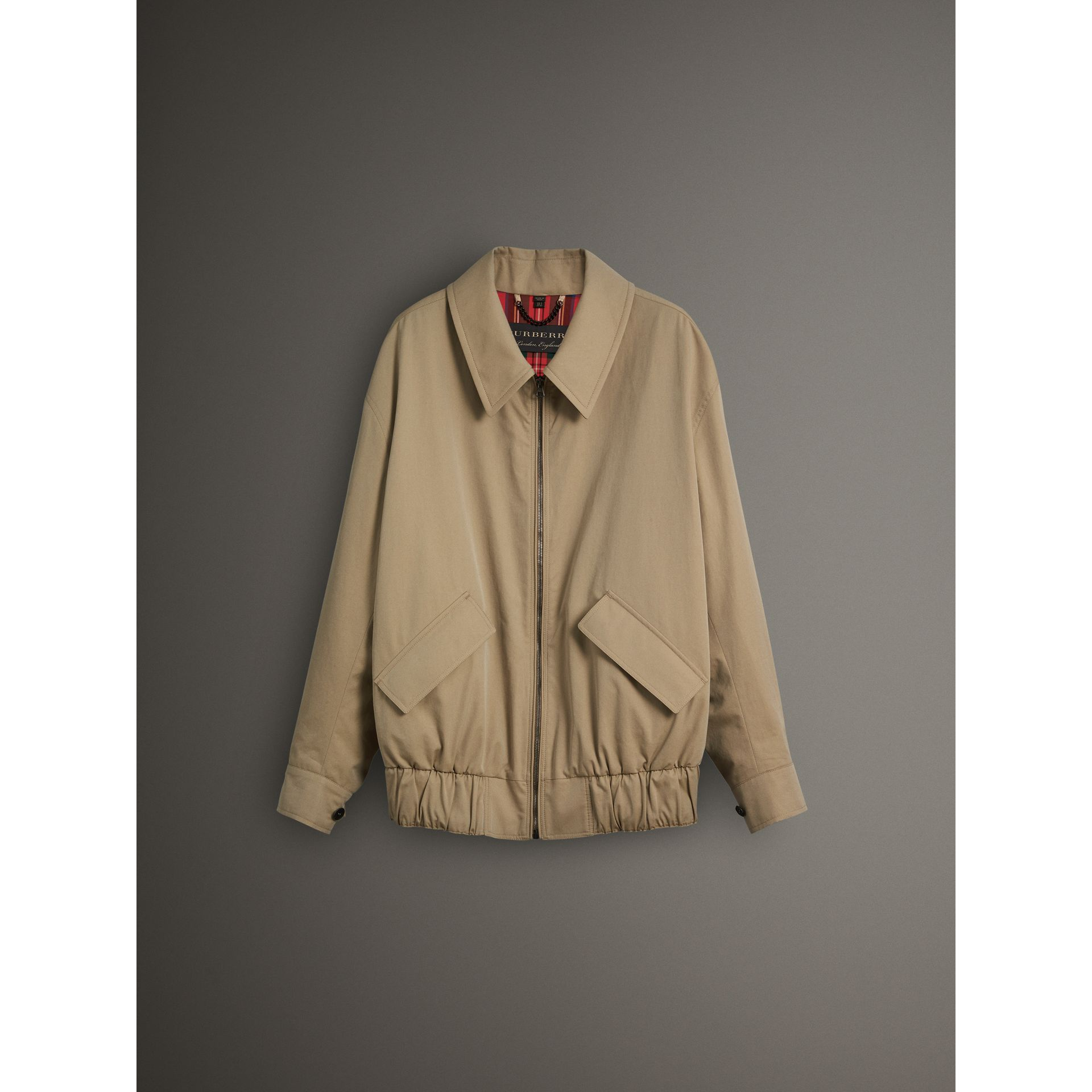 Tropical Gabardine Harrington Jacket in Honey - Men | Burberry United Kingdom - gallery image 3