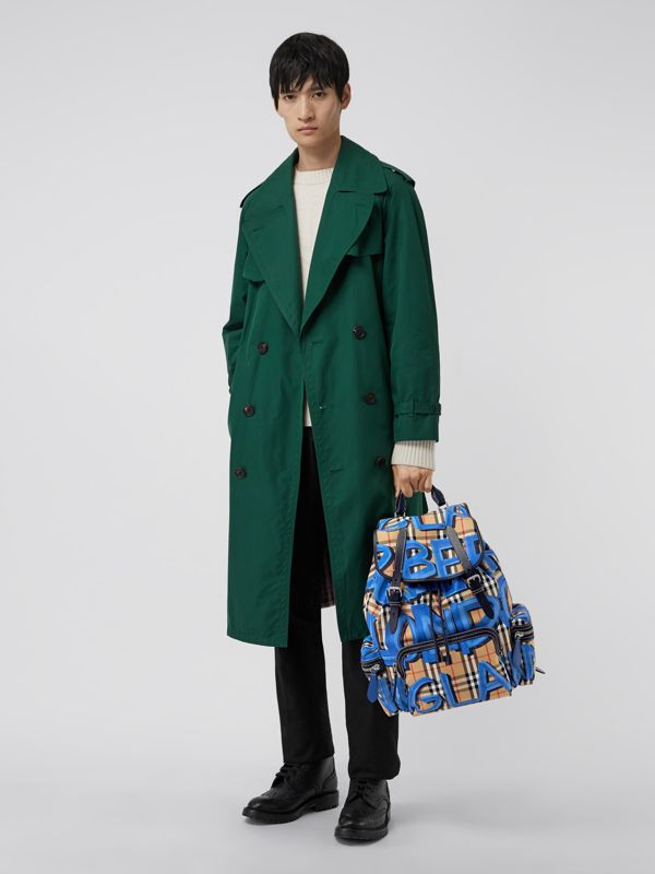 The Large Rucksack in Graffiti Print Vintage Check in Canvas Blue/antique Yellow | Burberry Hong Kong - cell image 2