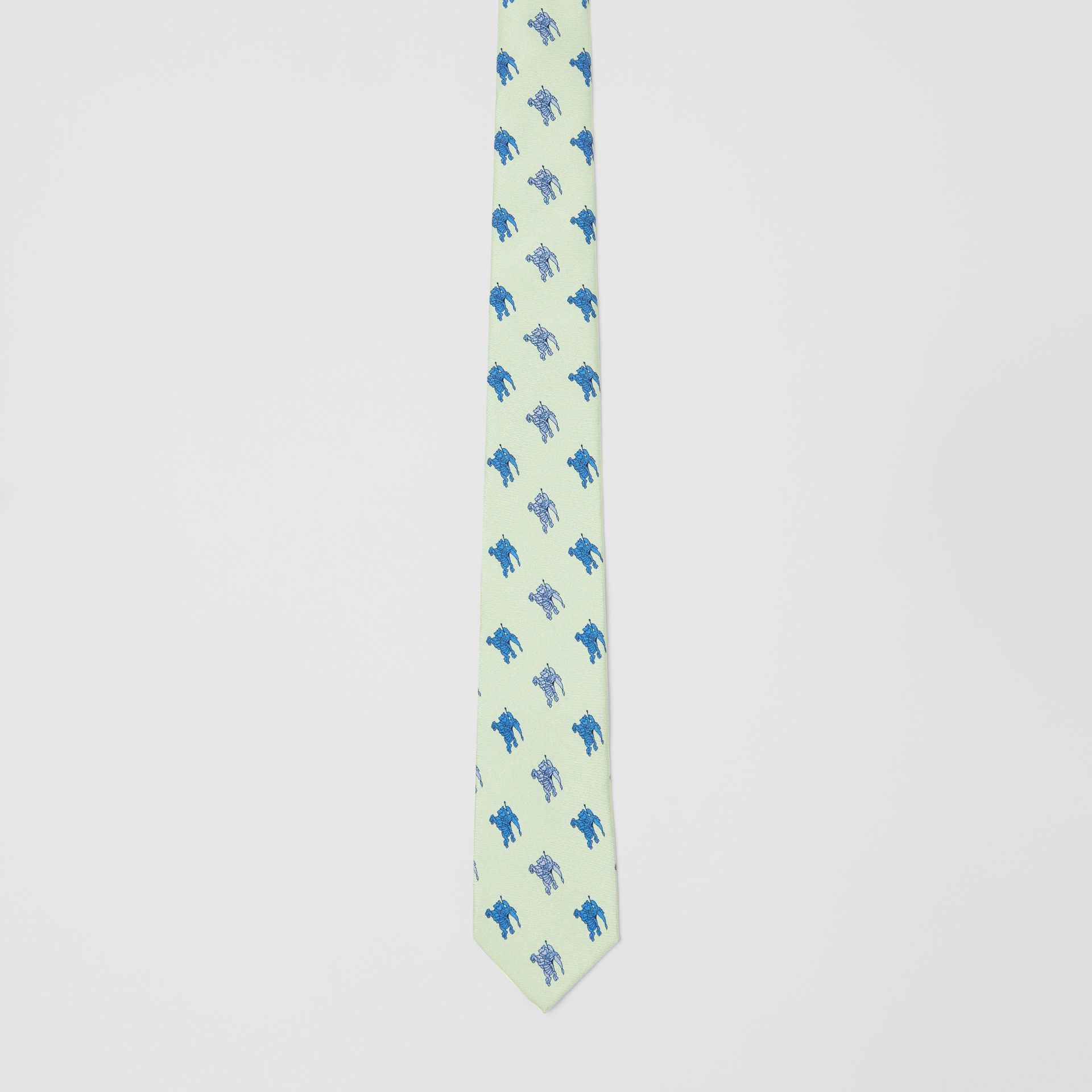 Slim Cut Equestrian Knight Print Silk Tie in Light Celadon - Men | Burberry - gallery image 4