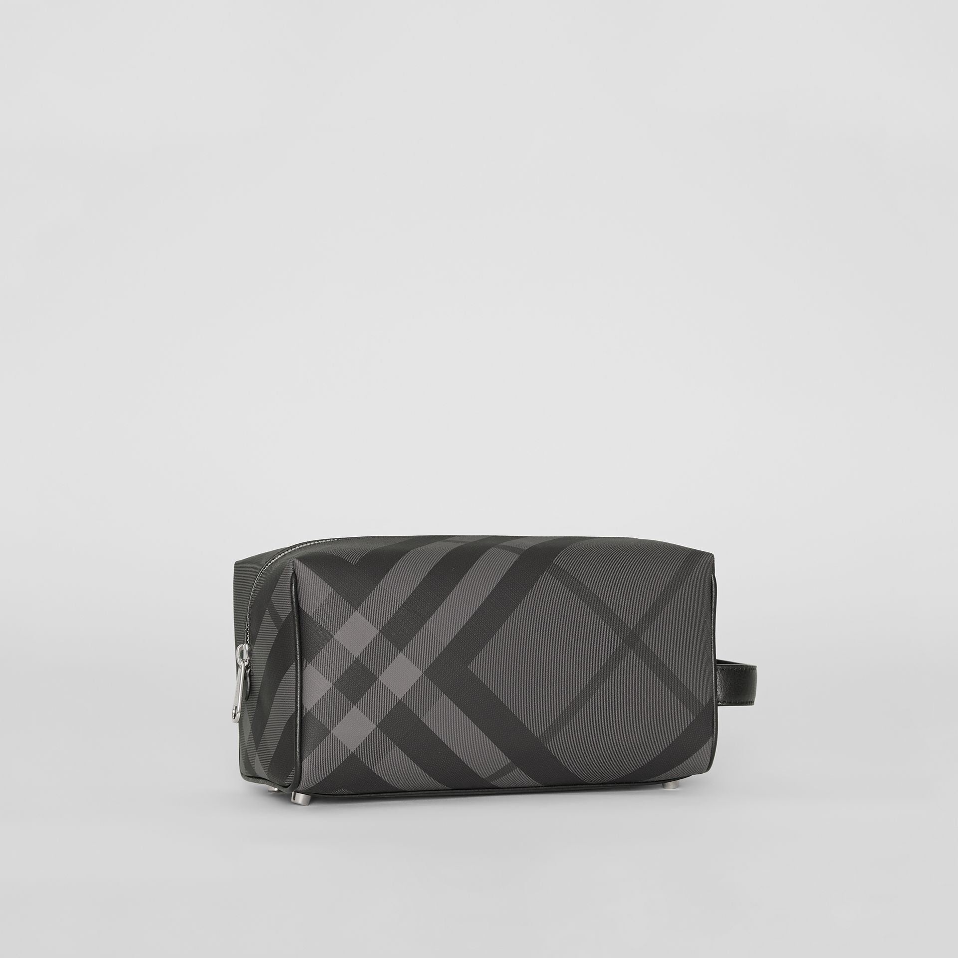 London Check and Leather Pouch in Charcoal/black - Men | Burberry Australia - gallery image 6