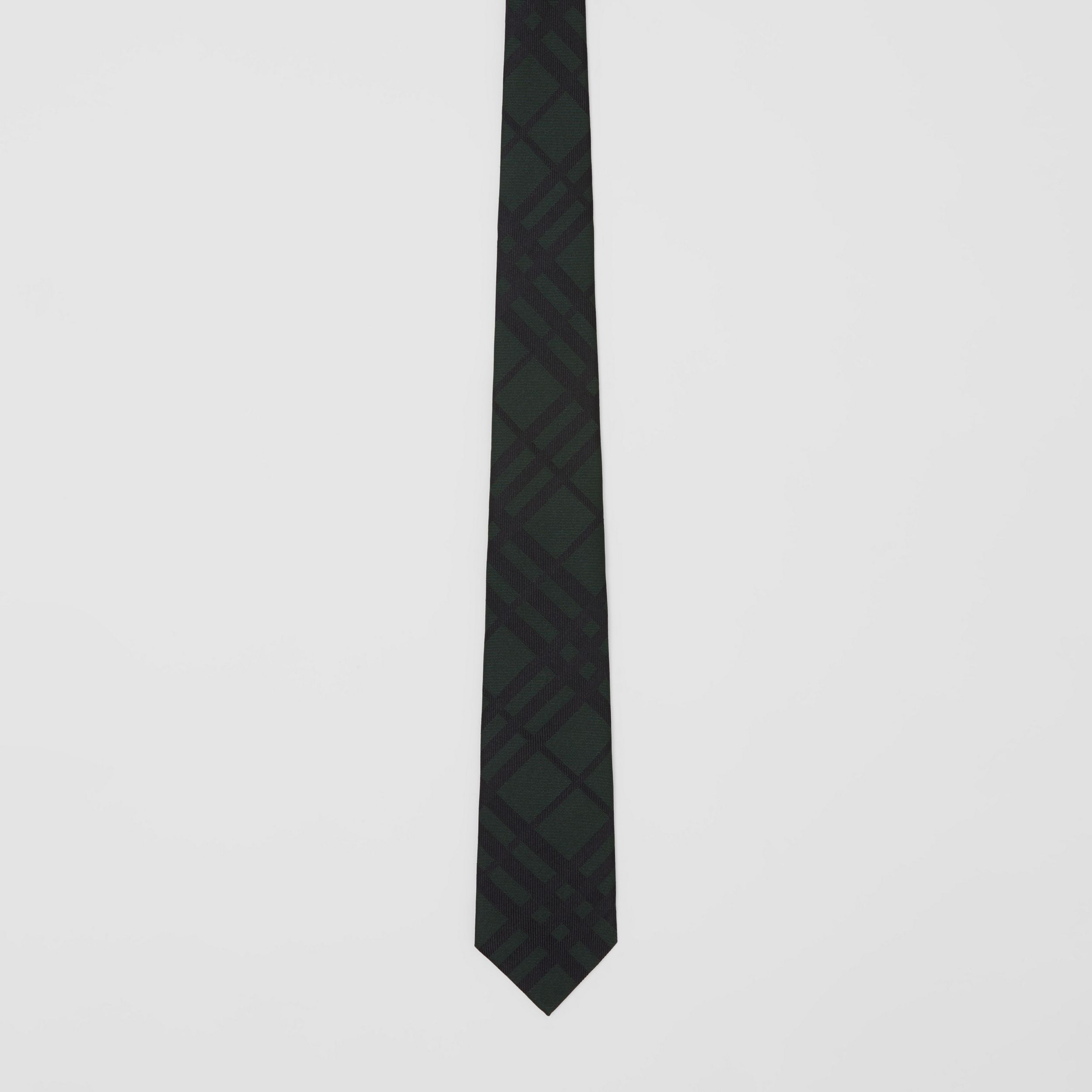 Classic Cut Check Silk Jacquard Tie in Dark Forest Green - Men | Burberry - 4