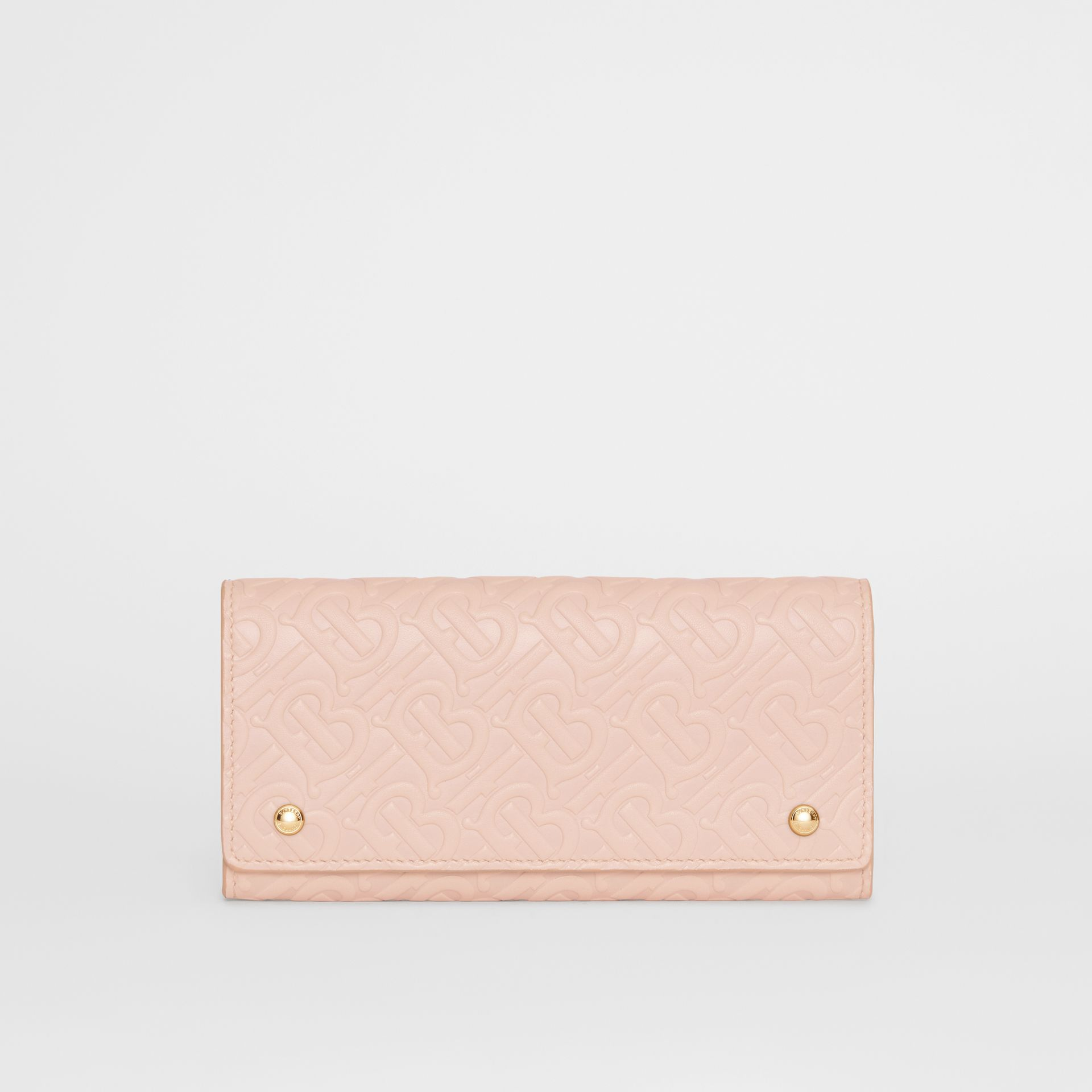 Monogram Leather Continental Wallet in Rose Beige - Women | Burberry United Kingdom - gallery image 0