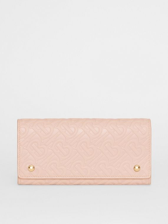 Monogram Leather Continental Wallet in Rose Beige