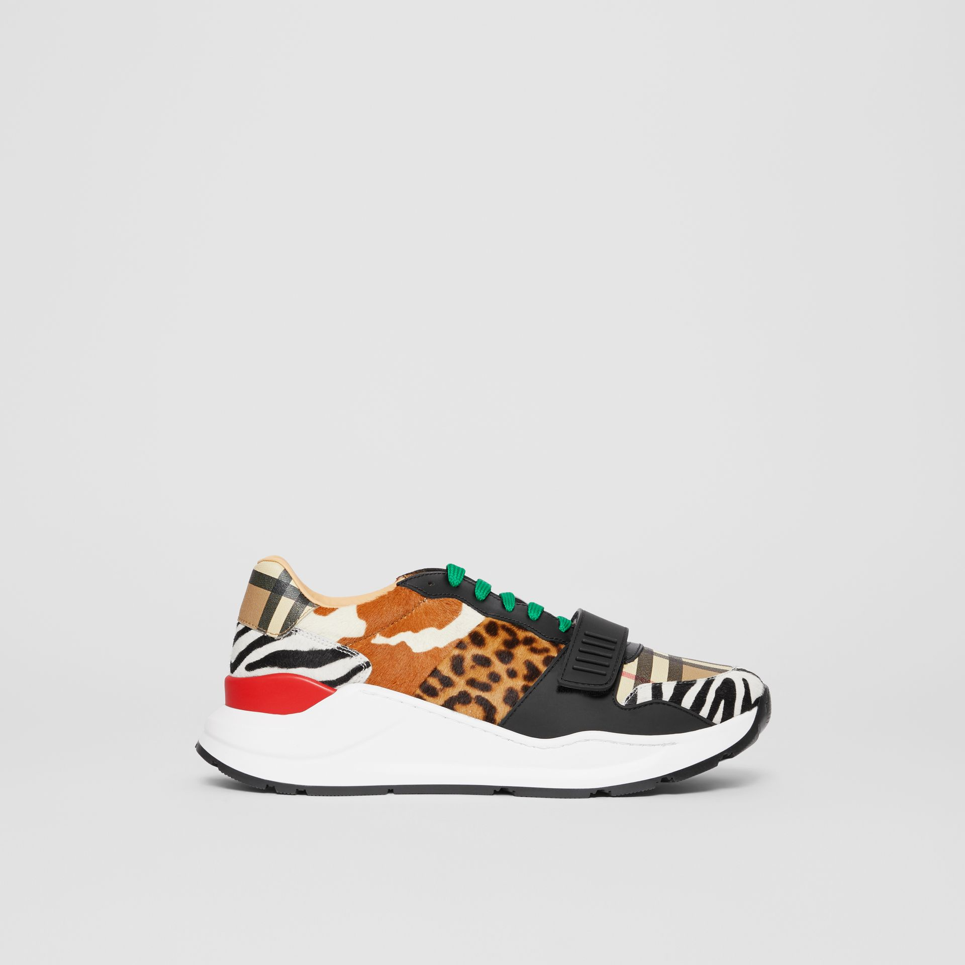 Animal Print and Vintage Check Sneakers in Archive Beige - Men | Burberry - gallery image 5