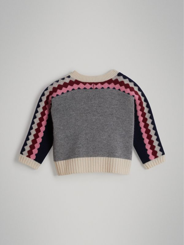 Monster Cashmere Jacquard Sweater in Grey Melange - Children | Burberry United Kingdom - cell image 3