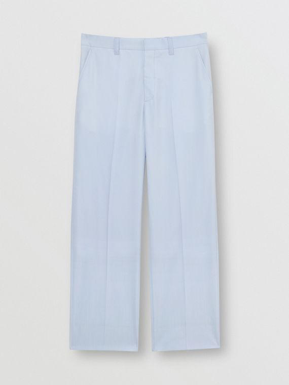 Tumbled Wool Wide-leg Trousers in Pale Blue