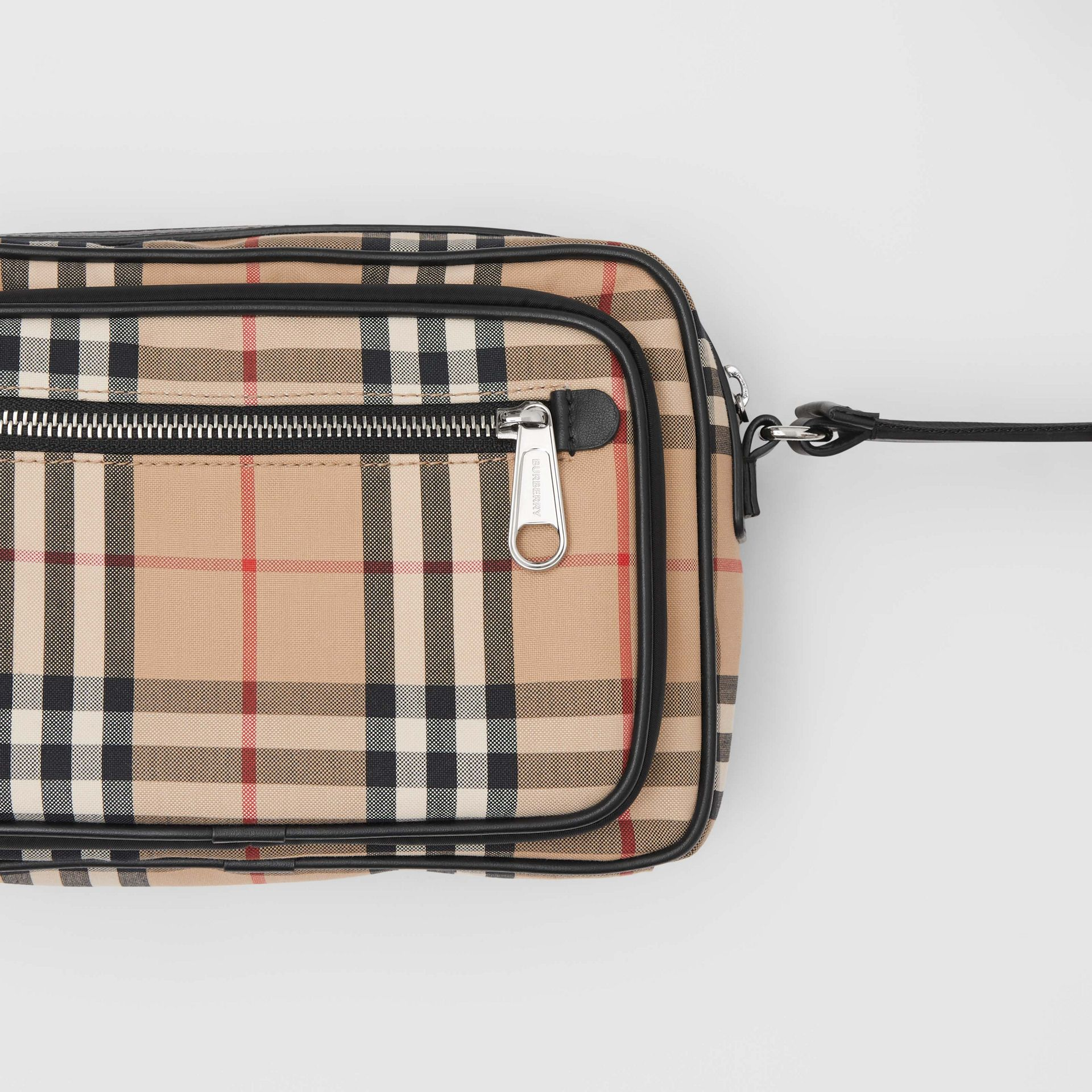 Vintage Check and Leather Crossbody Bag in Archive Beige - Men | Burberry Canada - gallery image 1