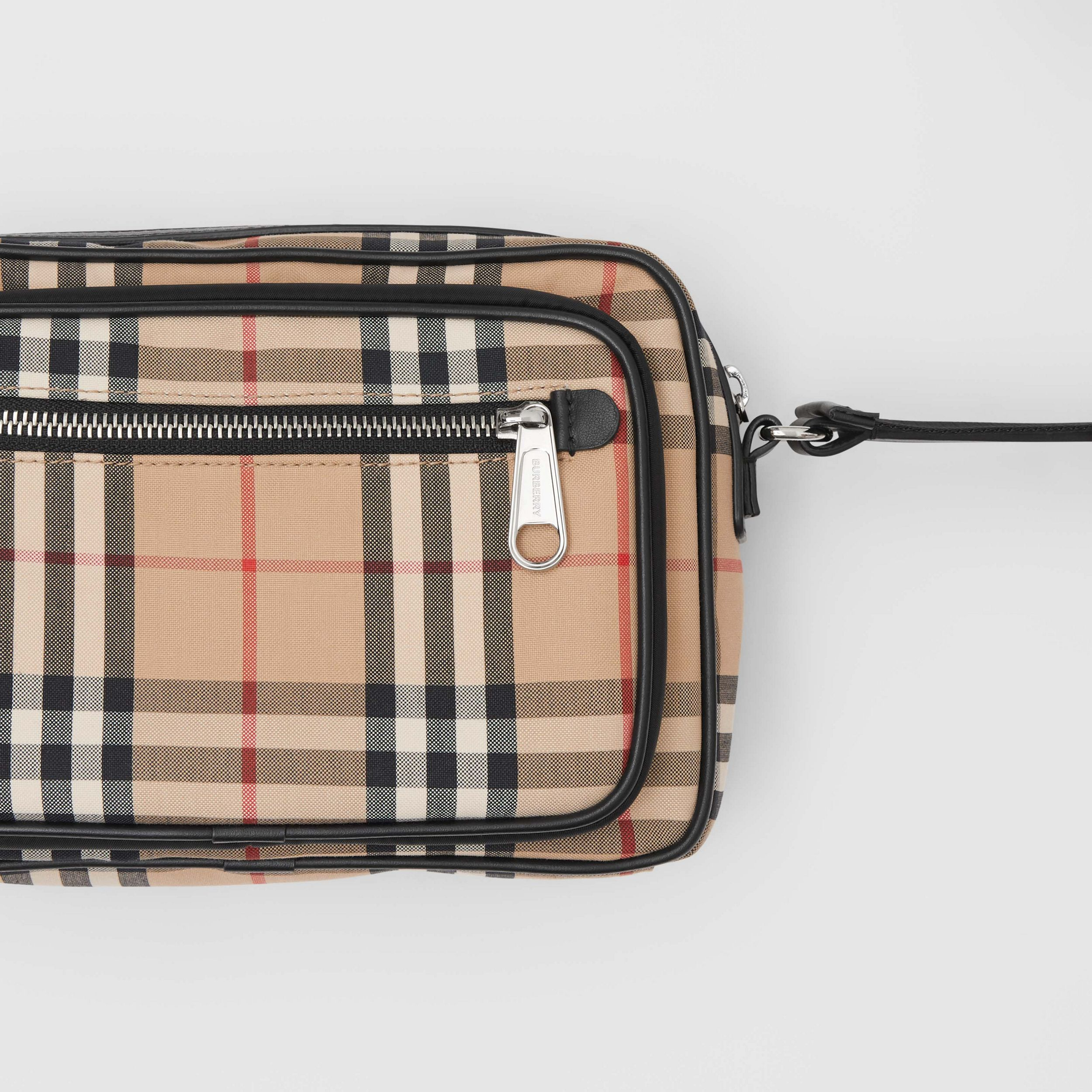 Vintage Check and Leather Crossbody Bag in Archive Beige - Men | Burberry - 2