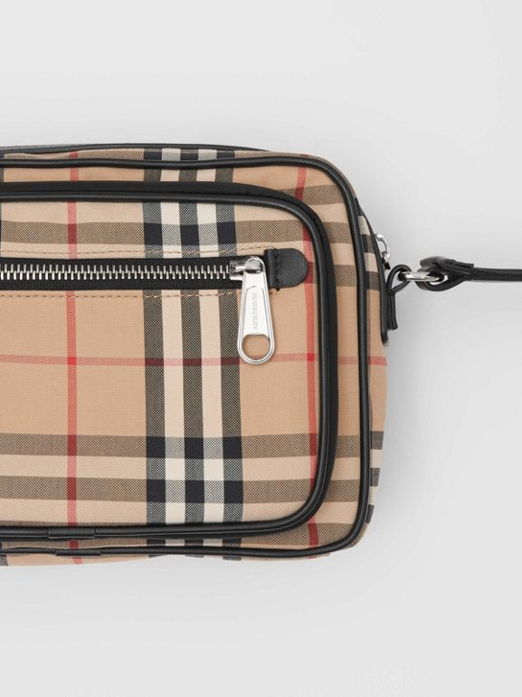 Vintage Check and Leather Crossbody Bag in Archive Beige - Men | Burberry United Kingdom - cell image 1