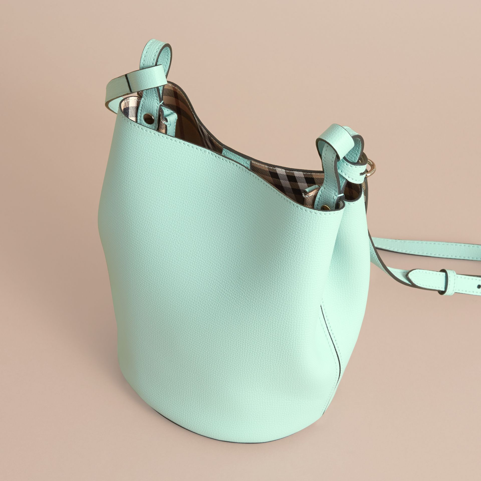 Leather and Haymarket Check Crossbody Bucket Bag in Pale Opal - Women | Burberry - gallery image 3